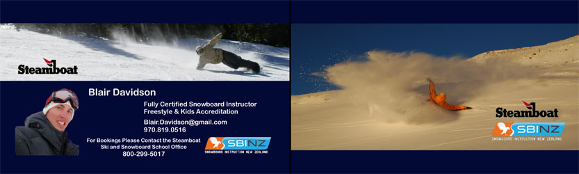 Both sides of a personal business card - Snowboard Instructing during the 2010/11 Colorado season.