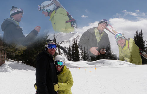 Combination of Engagement day photographs from Aspen Highlands Bowl.  Printed and framed as a 30th Birthday gift.  Colorado, 2011.