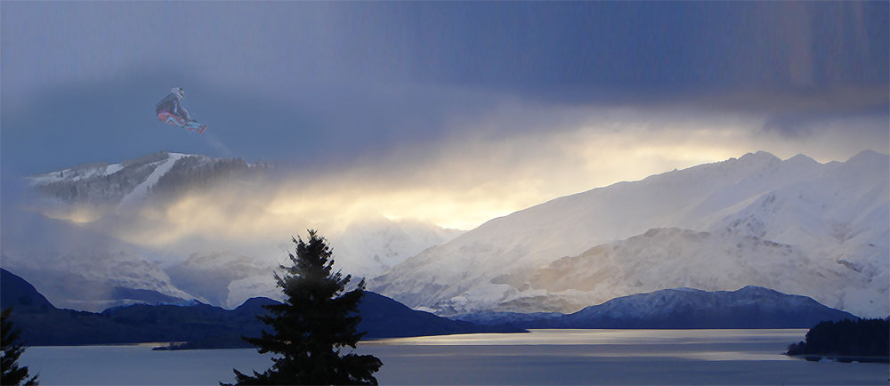 Landscape photograph of Wanaka in New Zealand combined with a snowboard photograph in Steamboat Springs, Colorado.  Printed and Block Mounted as a 30th Birthday gift.  Colorado, 2010.